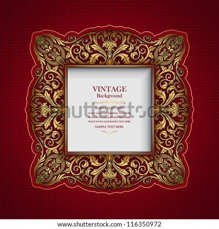 Vintage ornamental frame, rich, royal, luxury design, creative, trendy gold element for page and web decoration on red abstract background - stock vector