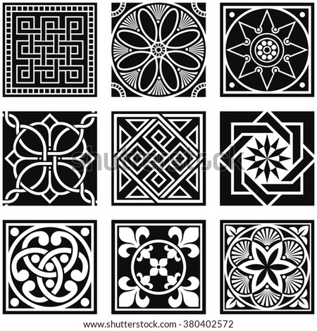 Vintage Ornamental Patterns in Black and White. - stock vector