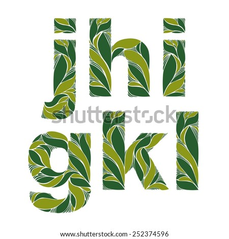 Vintage ornamental typeface, beautiful floral letters with green spring leaves. Flowery alphabet, g, h, I, j, k, l. - stock vector