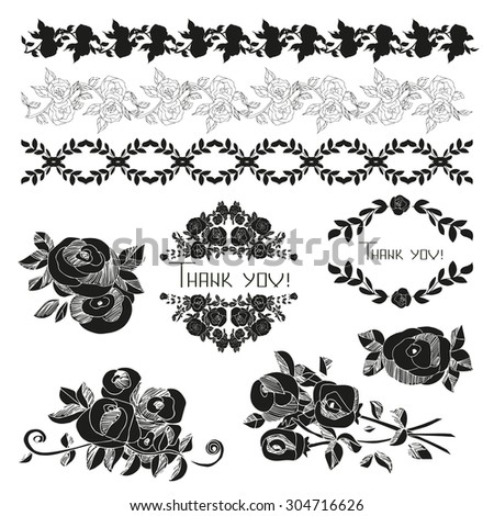 Vintage ornaments and dividers, frame. Black silhouette on a white background. Roses. sketch - stock vector