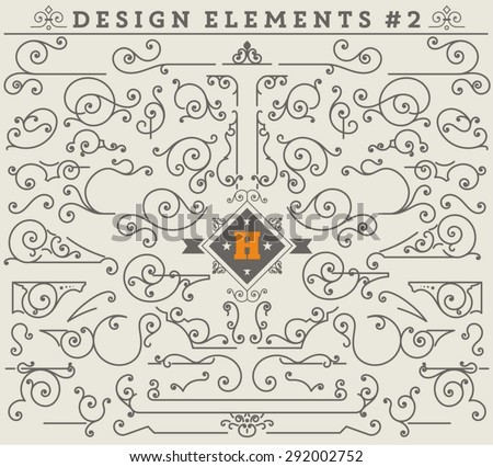 Vintage Ornaments Decorations Design Elements # 2.  Vector stock - stock vector
