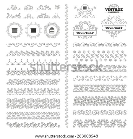 Vintage Ornaments Flourishes Calligraphic Louvers Icons Stock Vector