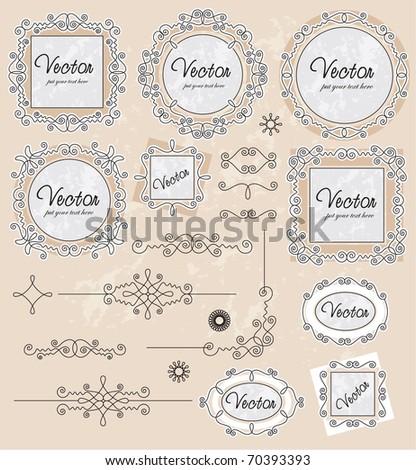 vintage ornaments set - stock vector