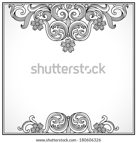 Vintage ornate border with place for text. Ornamental pattern. Victorian floral decor. Template frame design for wedding invitations, greeting cards, decoration for bags and clothes. - stock vector