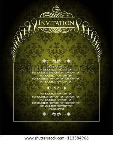 vintage ornate card design for greeting card, menu, cover, invitation, certificate. - stock vector