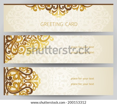 Vintage ornate cards in east style. Golden Victorian floral decor. Template frame for greeting card and wedding invitation. Ornate vector border and place for your text. - stock vector