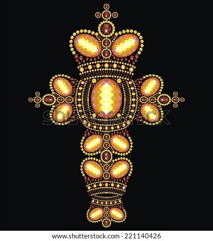 Vintage Ornate Christian Cross from brilliant stones, gold rhinestone applique, decoration for clothing (abstract vector art illustration)  - stock vector