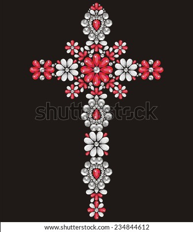 Vintage Ornate Christian Cross from red and silver brilliant stones, small beautiful flowers, rhinestone applique, decoration for clothing (abstract vector art illustration) - stock vector