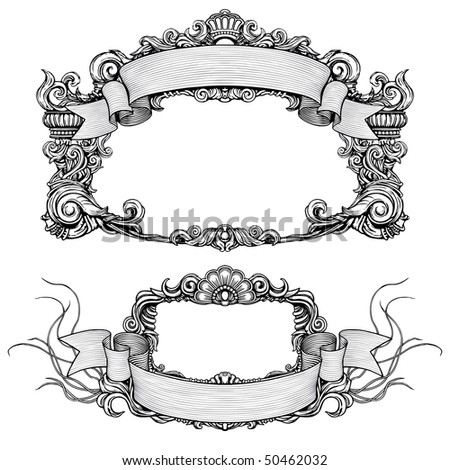 vintage ornate detailed frames with scroll - stock vector