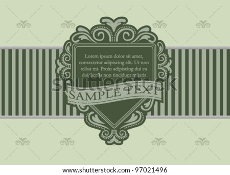 Vintage ornate green card template frame - stock vector
