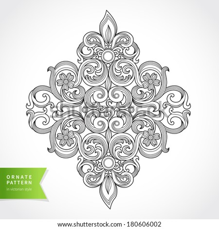 Vintage ornate pattern. Floral baroque ornament in Victorian style. Traditional ornament. Element for design. Decor for greeting card and wedding invitations, decoration for bags and clothes. - stock vector