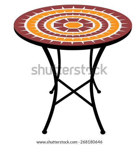 Vintage, outdoor round table vector isolated, cafeteria table - stock vector