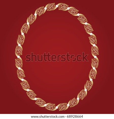 Vintage oval gold frame with leaves and pearls - stock vector
