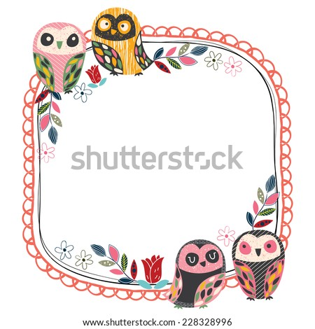 vintage owl frame layout 1 - stock vector