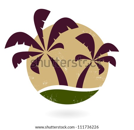 Vintage palm silhouette isolated on white - stock vector