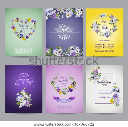Vintage Pansy Flowers Card Set - for Wedding, Birthday, Baby Shower, Party - in vector - stock vector