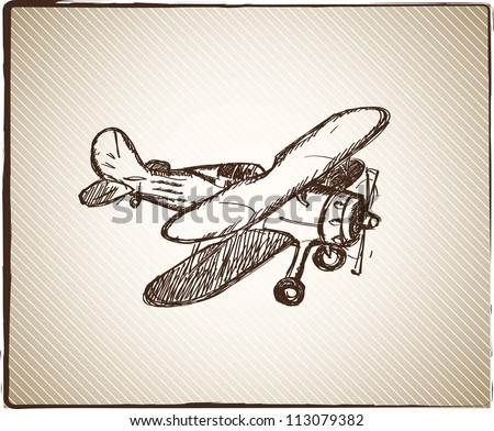 Vintage paper background with hand drown plane - stock vector