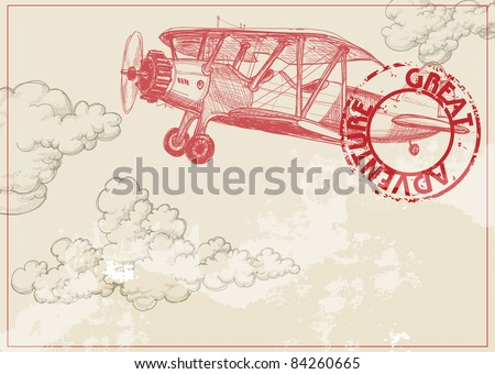 Vintage paper background with plane and clouds - stock vector