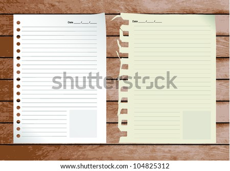 Vintage paper designs on wood, ready for your message. Vector illustration. - stock vector