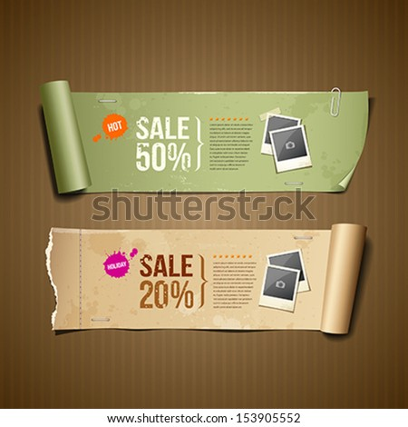 Vintage paper roll ripped brown paper and green paper for business design, vector illustration - stock vector