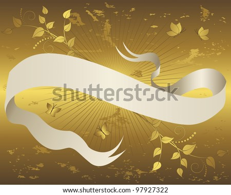 Vintage paper scroll banner with floral ornament and butterflies on grunge gold background. Vector illustration.