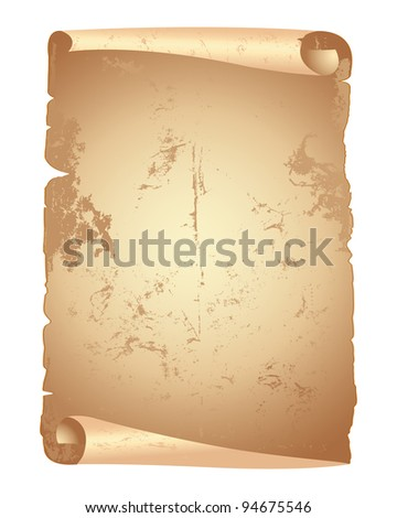 Vintage  paper scroll isolated on white. Vector illustration. - stock vector