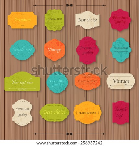 Vintage paper texture collection blank frames and label set on a wood background. Vector illustration. - stock vector