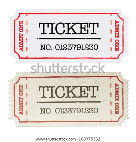 Vintage paper ticket, two versions. Vector illustration, EPS10. - stock vector