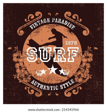 vintage paradise surf shield with rider - stock vector