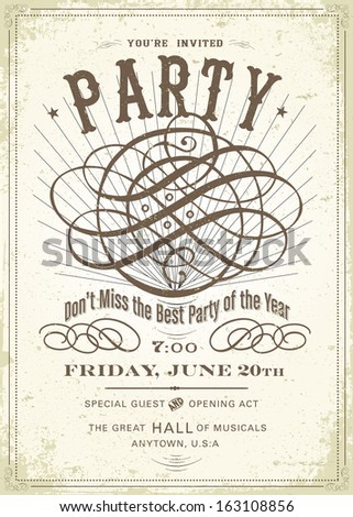 Vintage party poster template. Great for vintage and distressed designs.  - stock vector