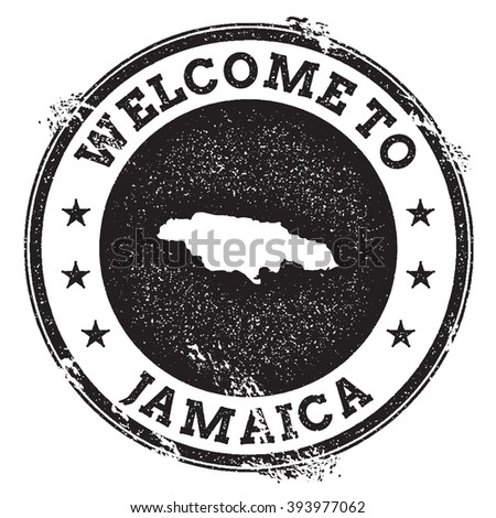 Vintage passport welcome stamp with Jamaica map. Grunge rubber stamp with Welcome to Jamaica text, vector illustration. - stock vector