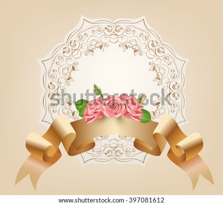 Vintage, pastel, decorative ribbon with flowers, pink roses.Vector. Parchment and papyrus scroll on the ornamental background.Romantic banner for Badges,Logotypes,wedding invitation cards.Retro style. - stock vector
