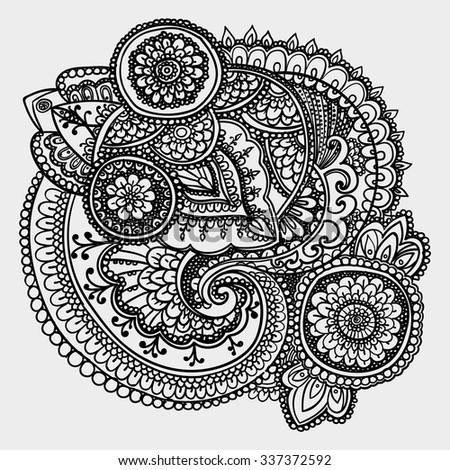 Vintage pattern based on traditional Asian elements Paisley. Contour black and white drawing . - stock vector