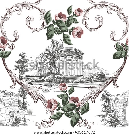 Vintage pattern in toile de jouy style with small flowers and baroque swirls on white - stock vector