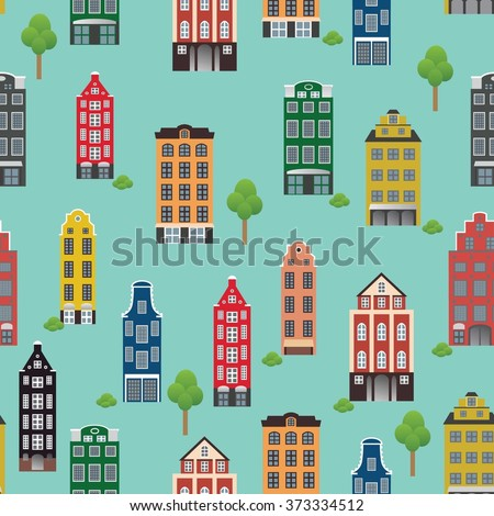 vintage pattern with beautiful houses on a blue background