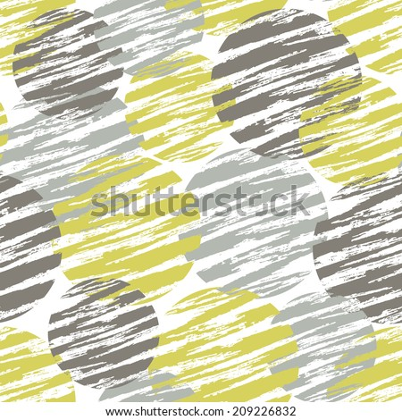 Vintage pattern with circles. Seamless painted background. - stock vector