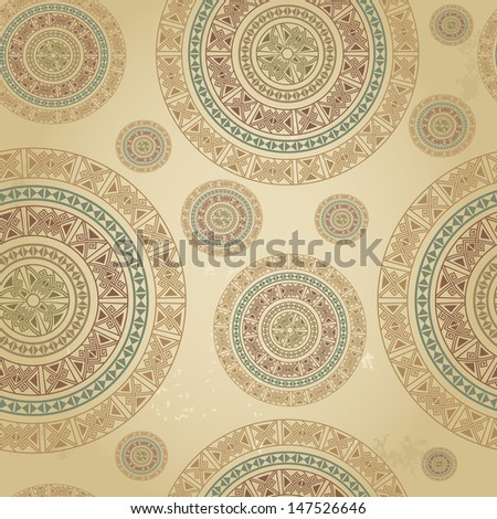 Vintage pattern with ethnic ornament on grunge background. Can be used for wallpaper, textiles, book design, pattern fills, web page background, surface textures, scrapbooking... Vector illustration - stock vector