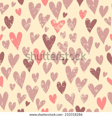 Vintage pattern with hearts. Seamless pattern can be used for wallpaper, pattern fills, web page background, surface textures.