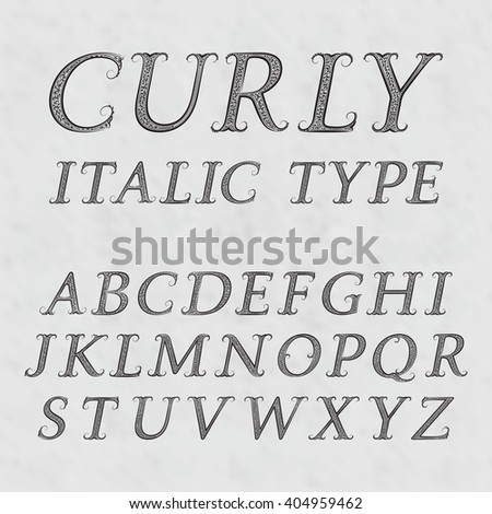Vintage Patterned Letters Curly Italic Type Font In Floral Baroque Style Latin Alphabet