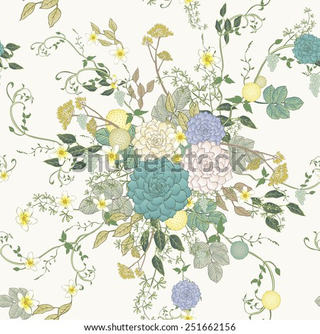 vintage peony seamless pattern over white background - stock vector