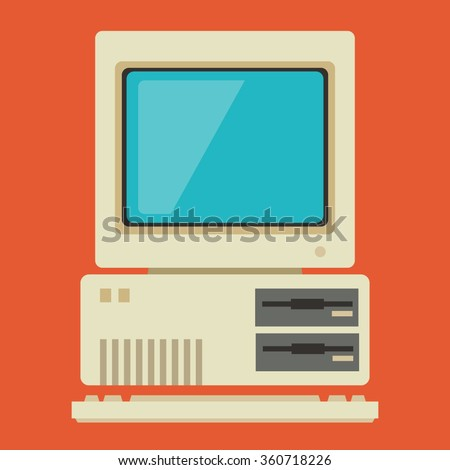 Vintage Personal Computer With Keyboard. Vector Illustration. - stock vector