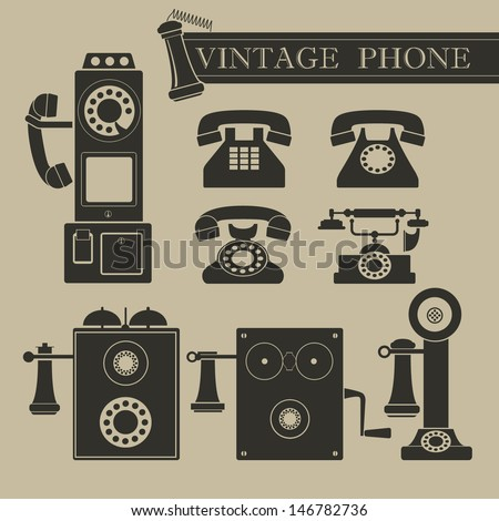 Vintage phone - stock vector
