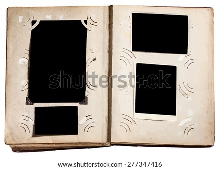 vintage photo album with grunge pages, vector - stock vector