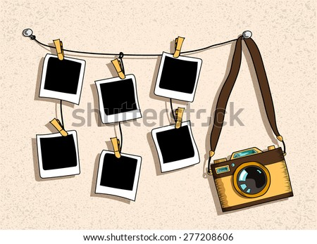 vintage photo camera and six photo on nails, retro textured beige background,  sketch vector illustration - stock vector