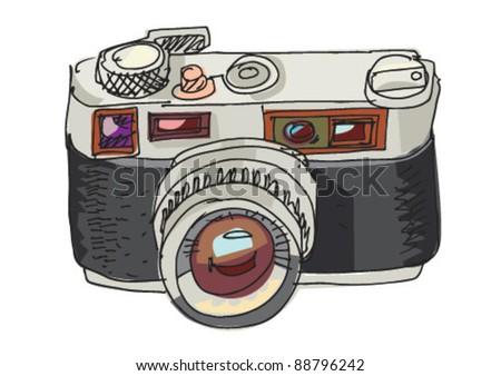 vintage photo camera - cartoon - stock vector