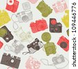 vintage photo cameras. seamless pattern - stock photo