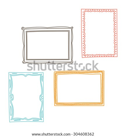 vintage photo frame in doodle style
