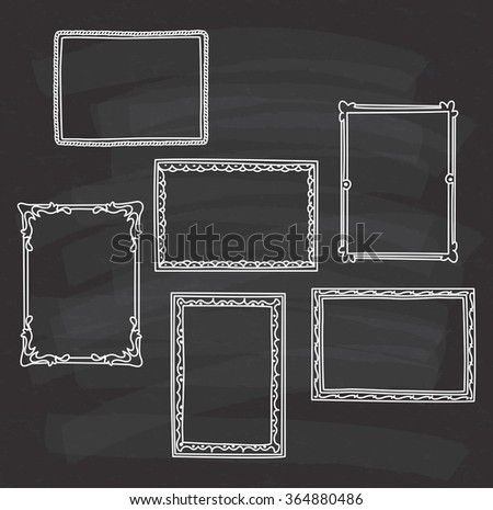 vintage photo frame in doodle style on chalkboard background - stock vector