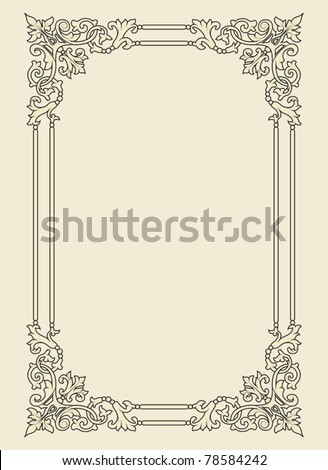 vintage photo frame ornamental vector in seventeenth-century French  style - stock vector