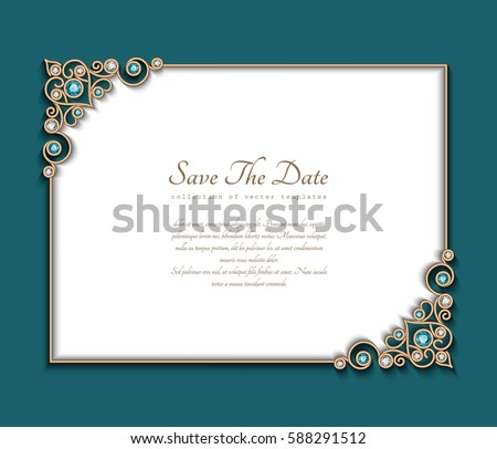 Vintage Photo Frame Save Date Card Stock Vector 588291512 - Shutterstock